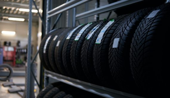 Variety of tyres at busy warehouse